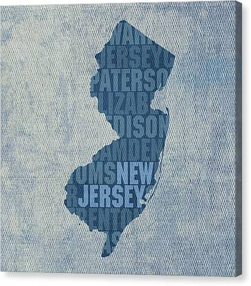 New Jersey Word Art State Map On Canvas Canvas Print by Design Turnpike