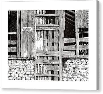 Barn Pen And Ink Canvas Print - Will Build To Suit New Mexico Doors by Jack Pumphrey