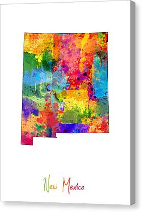 New Mexico Map Canvas Print by Michael Tompsett