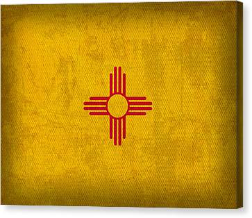 New Mexico State Flag Art On Worn Canvas Canvas Print by Design Turnpike