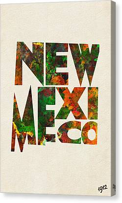 New Mexico Typographic Watercolor Map Canvas Print