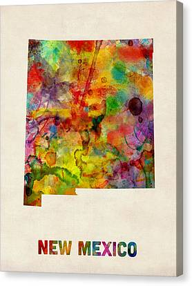 New Mexico Watercolor Map Canvas Print by Michael Tompsett