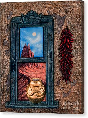 New Mexico Window Gold Canvas Print