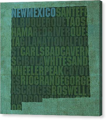 New Mexico Word Art State Map On Canvas Canvas Print