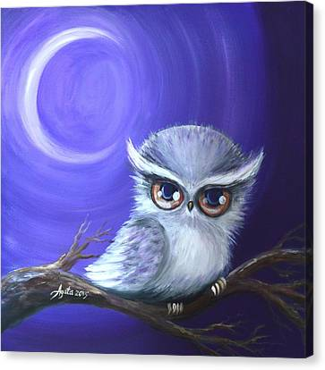 Canvas Print featuring the painting New Moon Owl by Agata Lindquist