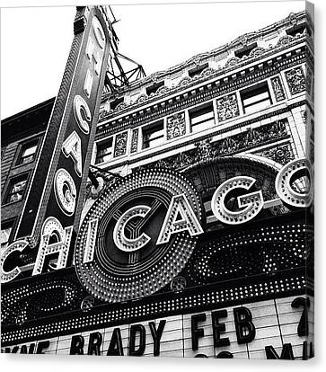 Chicago Theatre Sign Black And White Photo Canvas Print by Paul Velgos