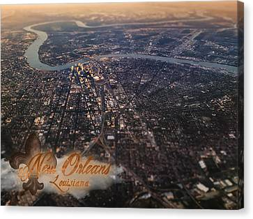 Canvas Print featuring the photograph New Orleans Aerial View by Anthony Citro