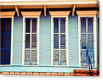 Canvas Print featuring the photograph New Orleans Blue And Orange House by Sylvia Cook