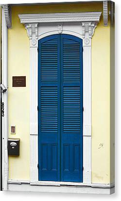 New Orleans Blue Door Canvas Print by Christine Till