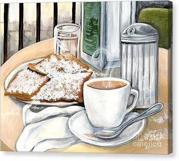 New Orleans Cafe Du Monde Canvas Print by Elaine Hodges