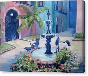 New Orleans Fountain 2 Canvas Print by Gretchen Allen
