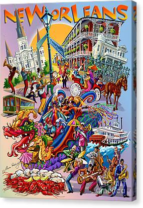 New Orleans In Color Canvas Print by Maria Rabinky