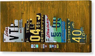 On Wood Canvas Print - New Orleans Louisiana City Skyline Vintage License Plate Art On Wood by Design Turnpike