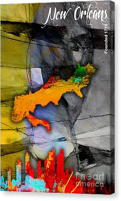 New Orleans Map And Skyline Canvas Print by Marvin Blaine