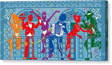 New Orleans Mardi Gras Balcony 2  Canvas Print by Derrick Higgins