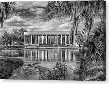 New Orleans Peristyle - Paint Bw Canvas Print by Steve Harrington