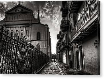 New Orleans' Pirates Alley In Black And White Canvas Print by Greg and Chrystal Mimbs