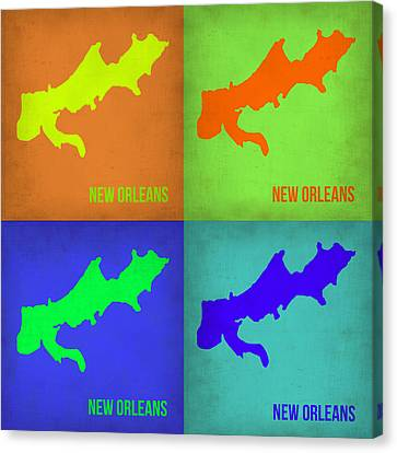 New Orleans Pop Art Map 1 Canvas Print by Naxart Studio