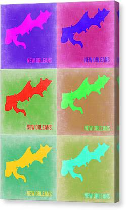 New Orleans Pop Art Map 3 Canvas Print by Naxart Studio
