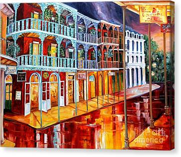 New Orleans Reflections In Red Canvas Print by Diane Millsap