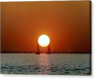 Canvas Print featuring the photograph New Orleans Sailing Sun On Lake Pontchartrain by Michael Hoard
