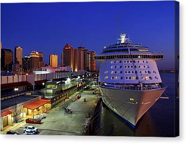 Canvas Print featuring the photograph New Orleans Skyline With The Voyager Of The Seas by Jason Politte