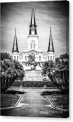 St.louis Cathedral Canvas Print - New Orleans St. Louis Cathedral Black And White Picture by Paul Velgos