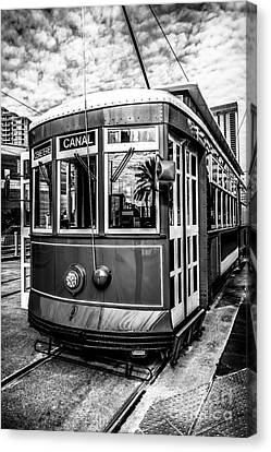 New Orleans Streetcar Black And White Picture Canvas Print by Paul Velgos