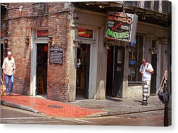 Old Diner Bar Stools Canvas Print - New Orleans Tavern by Frank Romeo