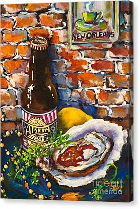 Raw Oyster Canvas Print - New Orleans Treats by Dianne Parks