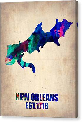 New Orleans Watercolor Map Canvas Print by Naxart Studio