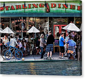People Are Flooding To The Starling Diner Canvas Print by Bob Winberry
