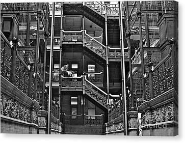 New Photographic Art Print For Sale Bradbury Building Downtown La Canvas Print by Toula Mavridou-Messer