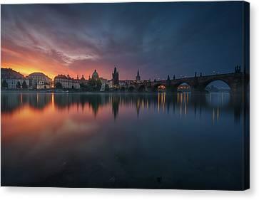 Vltava Canvas Print - New Prague. by Juan Pablo De