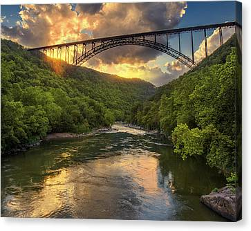 New River Evening Glow Canvas Print by Mary Almond
