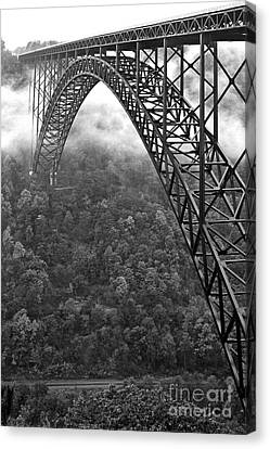 New River Gorge Bridge Black And White Canvas Print by Thomas R Fletcher