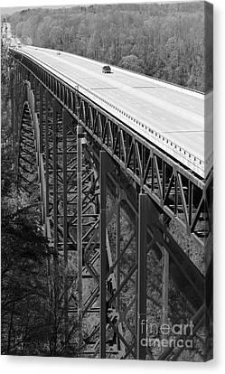 Spring Canvas Print - New River Gorge Bridge Bw by Teresa Mucha