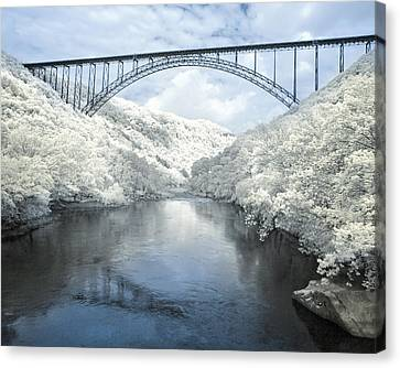New River Gorge Bridge In Infrared Canvas Print by Mary Almond