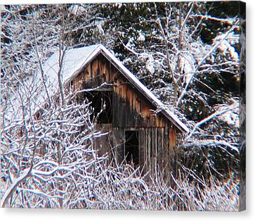 New Snow Old Barn Canvas Print by Will Boutin Photos