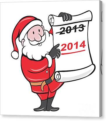 New Year 2014 Santa Claus Scroll Sign Canvas Print by Aloysius Patrimonio