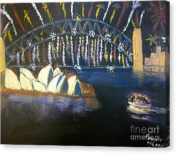 Canvas Print featuring the painting New Year Eve On Sydney Harbour by Pamela  Meredith