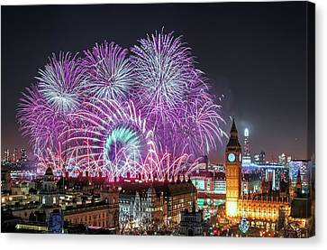 New Year Fireworks Canvas Print by Stewart Marsden