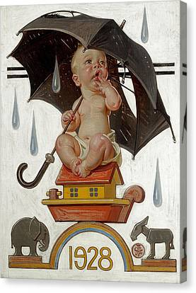 New Year's Baby Canvas Print by Joseph Christian Leyendecker
