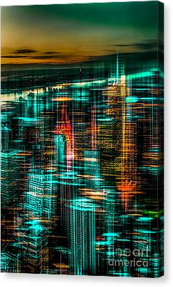 Hannes Cmarits Canvas Print - New York - The Night Awakes - Green by Hannes Cmarits