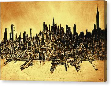 New York City Skyline 78 - Oil Canvas Print by Art America Online Gallery