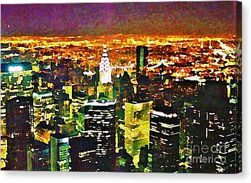 New York At Night From The Empire State Building Canvas Print by John Malone of Halifax Nova Scotia Canada