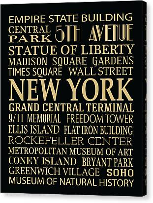 New York Attractions Canvas Print by Jaime Friedman