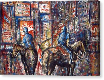 New York Broadway At Night - Oil Canvas Print by Art America Online Gallery
