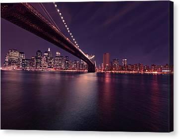 New York Brooklyn Bridge At Night Canvas Print by David Dehner