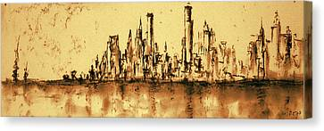 New York City Skyline 79 - Water Color Panorama Canvas Print by Art America Online Gallery